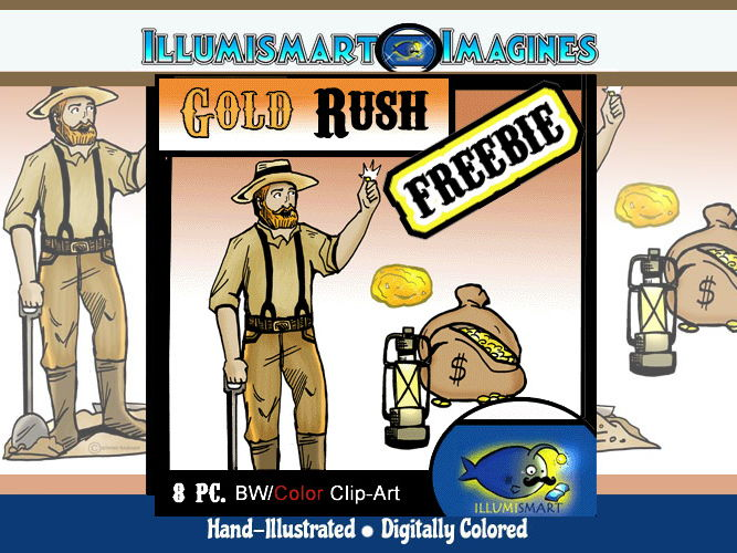 Secondary 8 pc. ClipArt California Gold Rush!