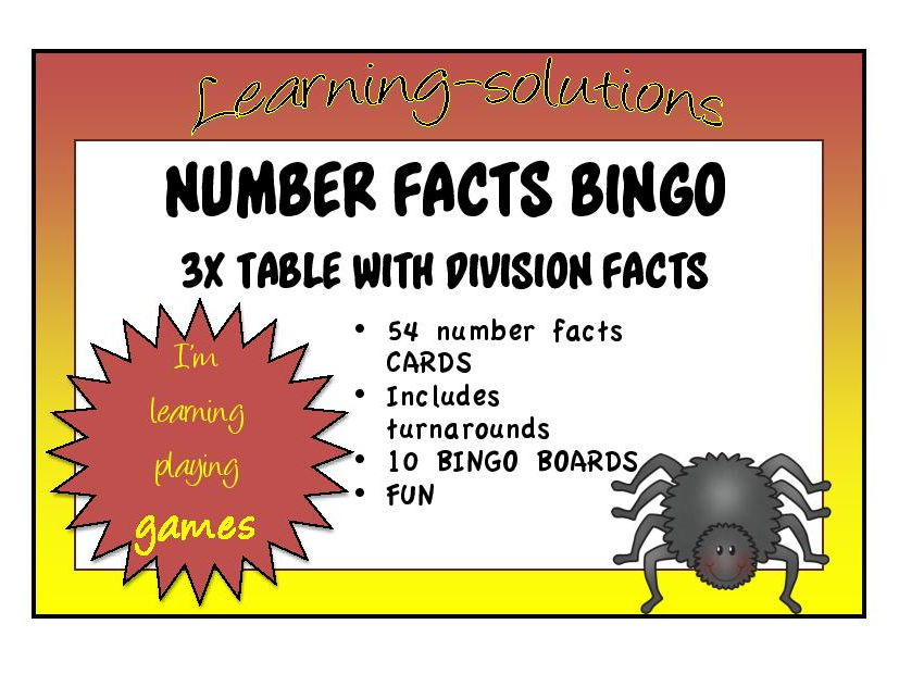 TIMES TABLES BINGO, 2x, 2x&4x, 5x and 3x (with division)