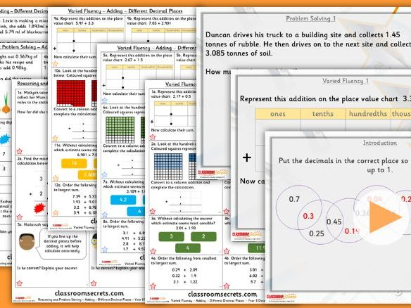 Year 5 Adding - Different Decimal Places Summer Block 1 Lesson Pack