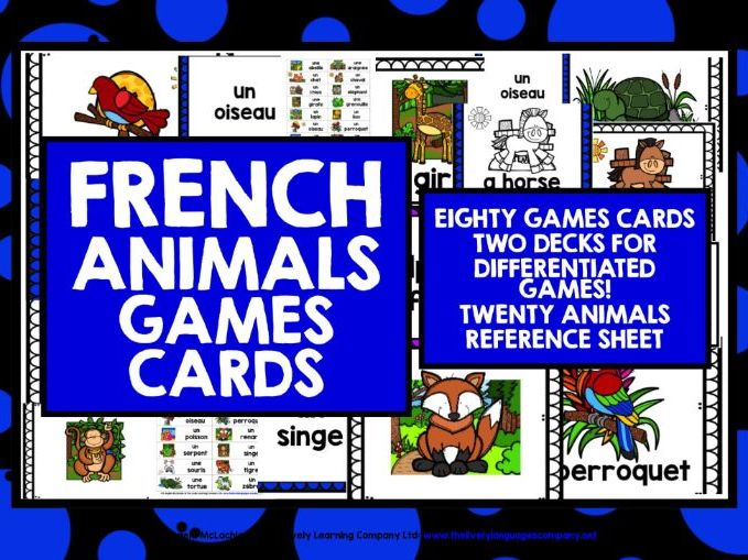 FRENCH ANIMALS GAME CARDS