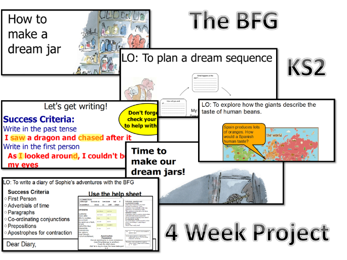 BFG English (Diary, Instructions and More), Geography and DT - 4 Weeks- Flip Charts +Resources - KS2