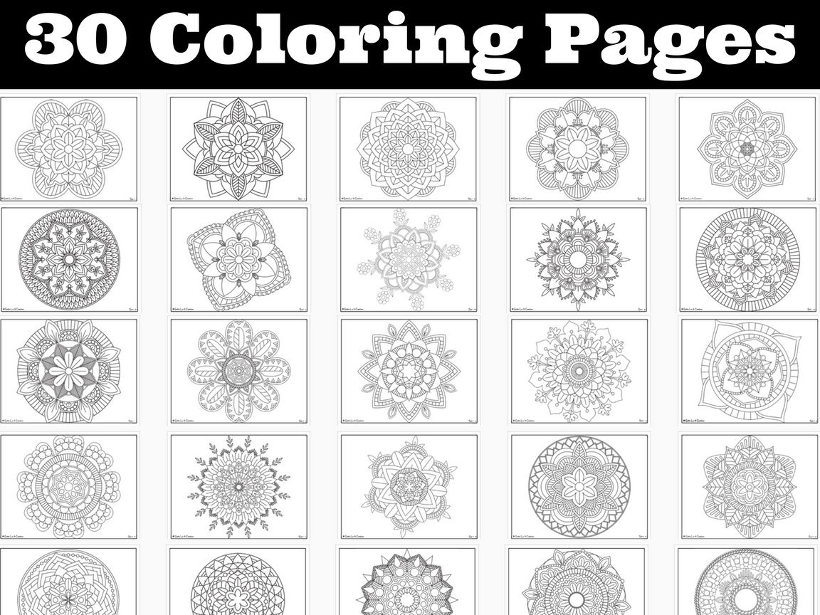 Coloring Pages BUNDLE 30 different Mandalas Perfect for testing week