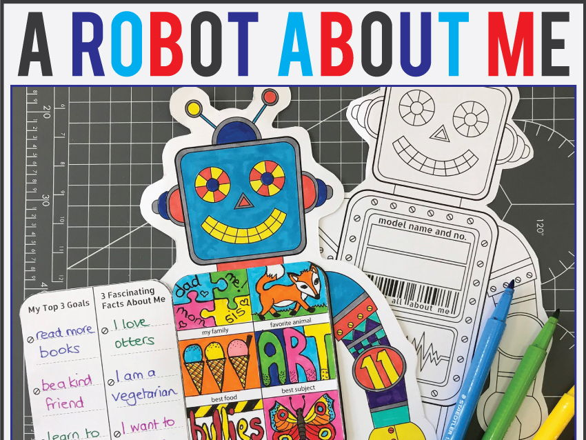 All About Me Back to School Robot Art & Writing Activity