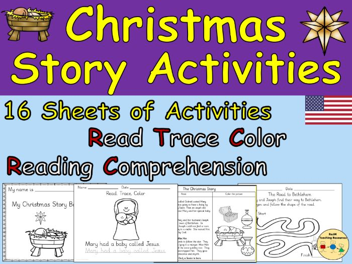 Christmas Story Activities Worksheets  Story Wheel Sequencing Word Searches  US Version