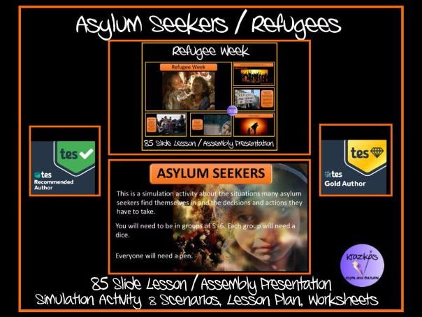 Refugee / Asylum Seekers Lesson / Assembly Presentation and Simulation Activity Pack and Worksheets