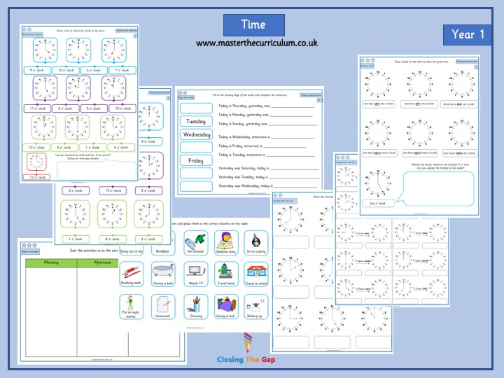 Year 1 Differentiated Time Worksheets- Time to the hour - week 1