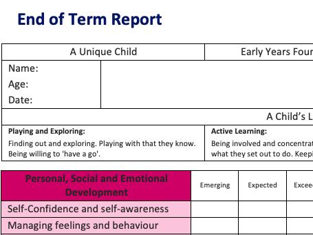End of term report template (EYFS)