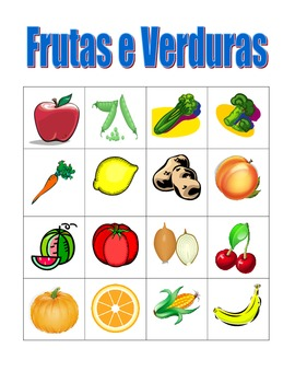 Frutas e Legumes (Fruits and Vegetables in Portuguese) Bingo game
