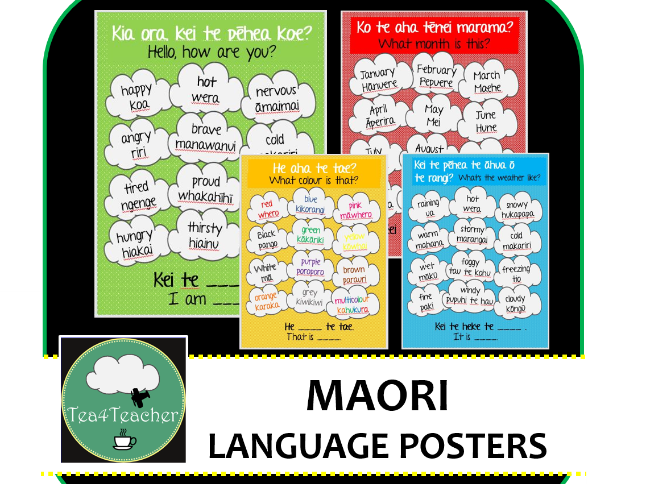 Maori Posters Phrases and Vocabulary - People, Places, Actions, Objects, Colours