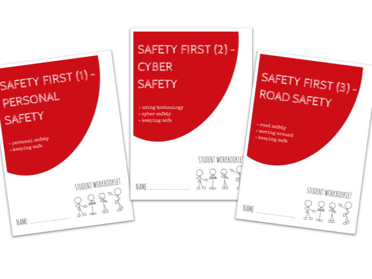 SAFETY FIRST bundle - x3 workbooklets PERSONAL, CYBER & ROAD SAFETY