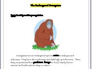 The Endangered Orangutan: Reading Activity