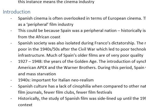 Spanish A level Film Toolkits