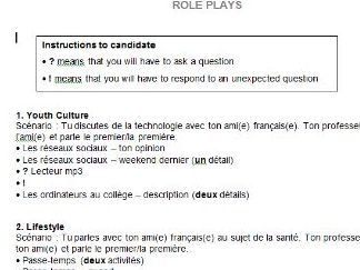 Foundation GCSE French role plays NEW SPEC