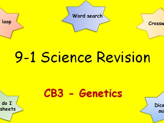 Edexcel CB3 Genetics Revision pack Science 9-1