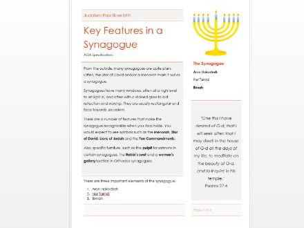 AQA Judaism: Features of a Synagogue Information and Question Booklet