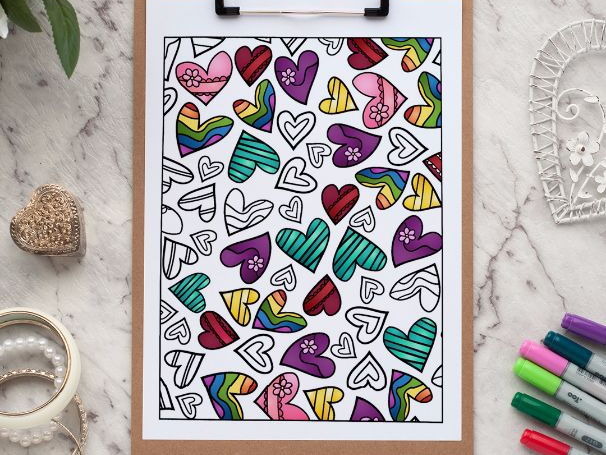 """Hearts Coloring Page 