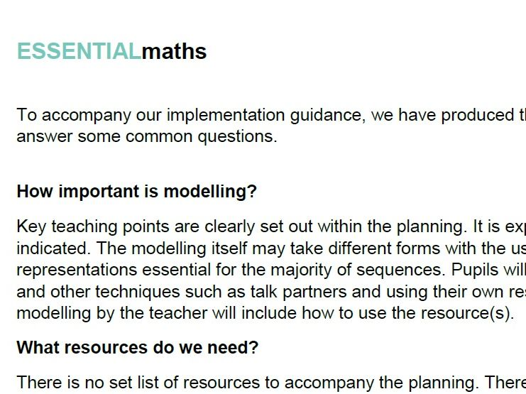 Planning with ESSENTIAL maths FAQs