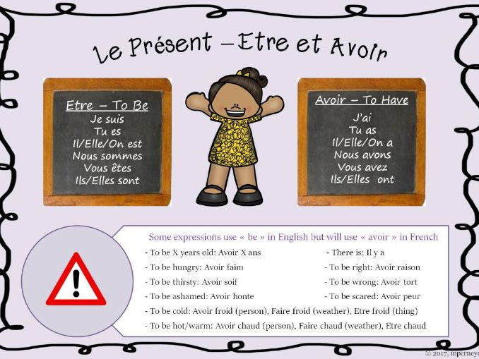 French present tense display/mat Sample (être et avoir)