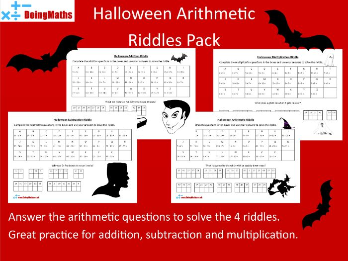 Arithmetic Riddles  - Halloween Themed Maths