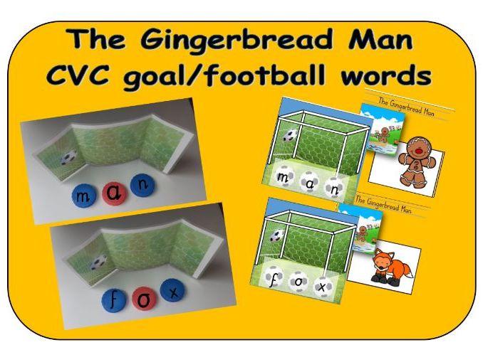 The Gingerbread Man - CVC goal/football bottle top word makers