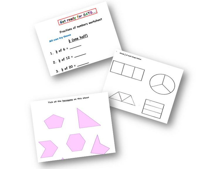 SATS REVISION - 2D SHAPE AND FRACTIONS BUNDLE