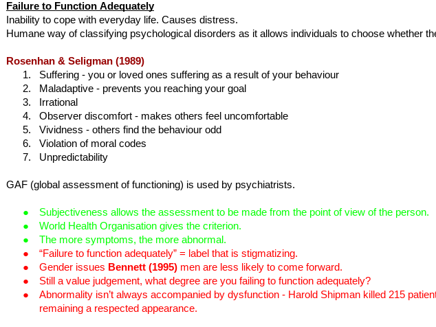 PSYCHOLOGY PSYCHOPATHOLOGY REVISION NOTE
