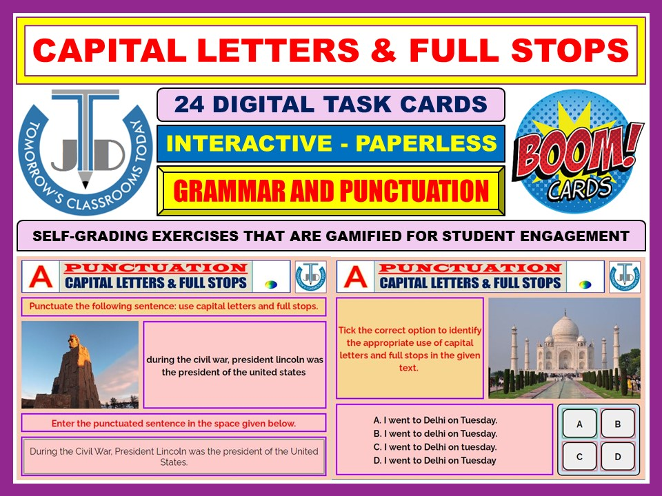 CAPITAL LETTERS AND FULL STOPS: 24 BOOM CARDS