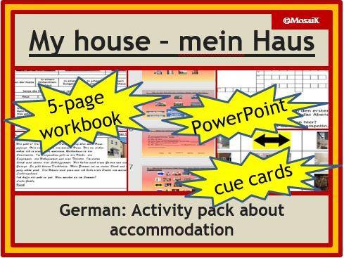 Describing my house - German: 5-page wkbk, 15-slides PPP, cue cards, vocab