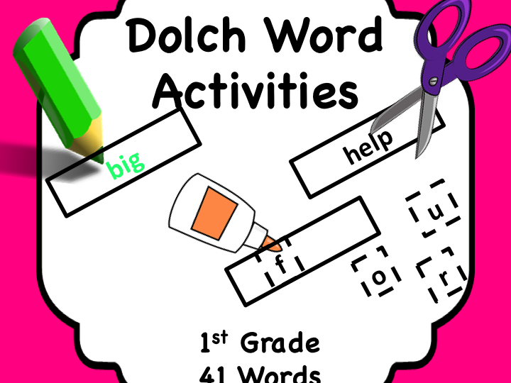 Dolch Words 1st Grade: Activity Sheet/Word + Matching Cards.