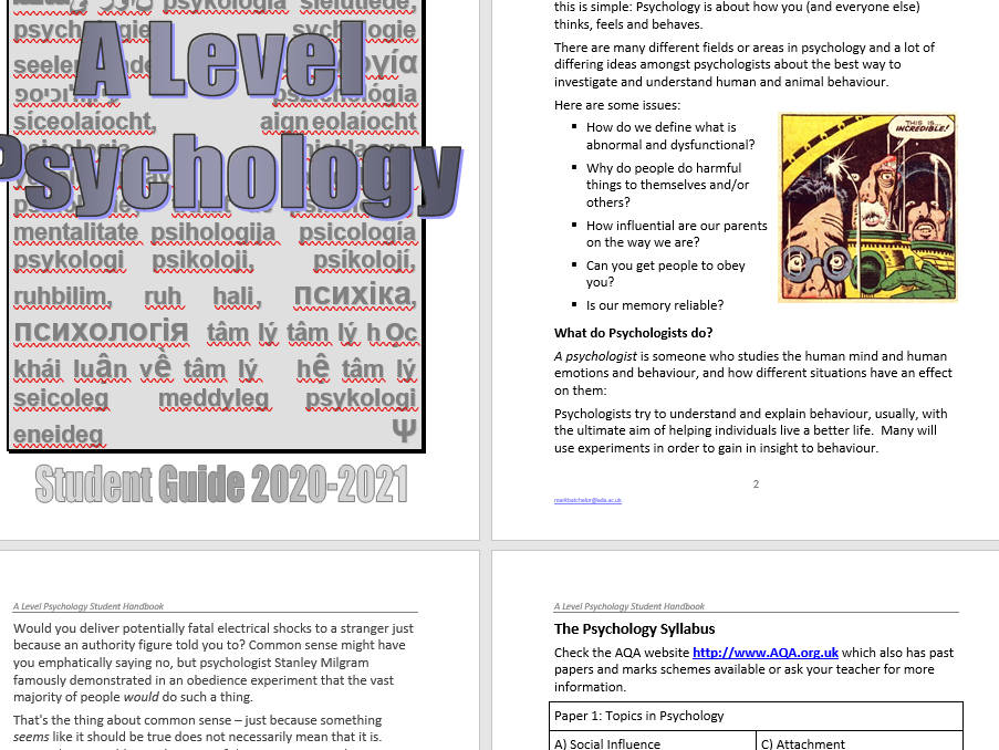 Introduction to A Level Psychology (AQA)