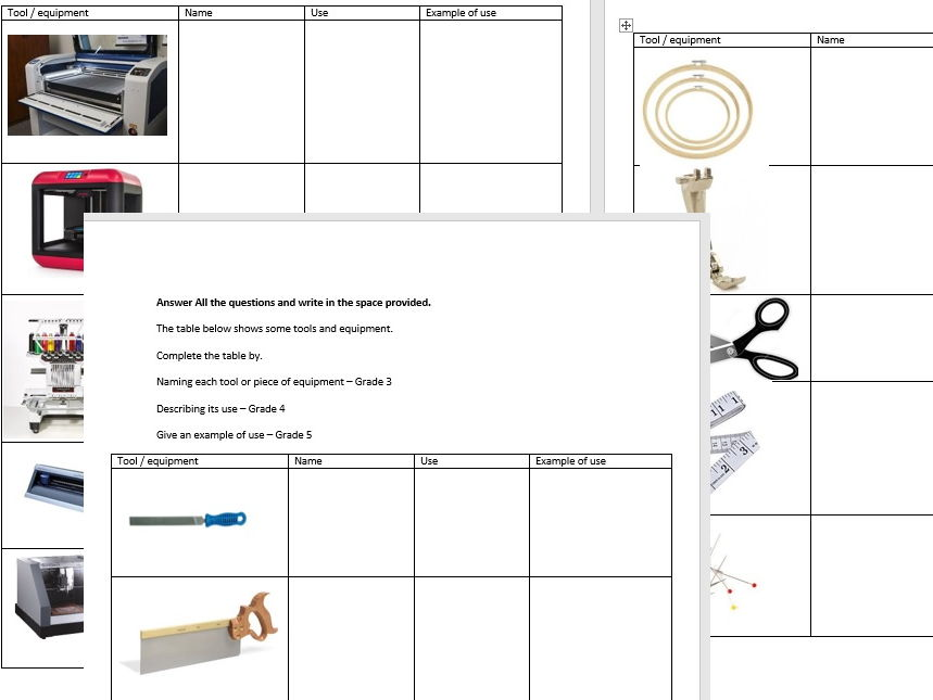 Tools & Equipment worksheet