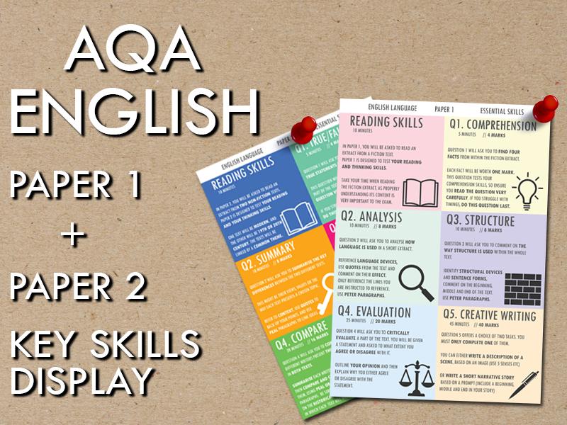 AQA English Language, Paper 1 + Paper 2 Key Skills Display
