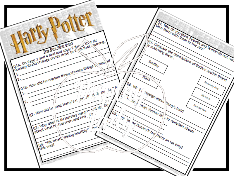 Harry Potter and the Philosopher's Stone chapter 1 and 2 reading questions Year 6