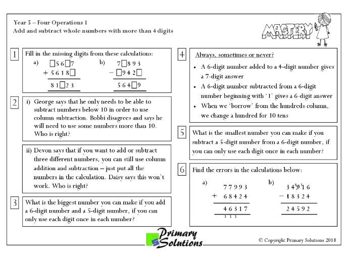Mastery Maths - Year 5 - Four Operations 1