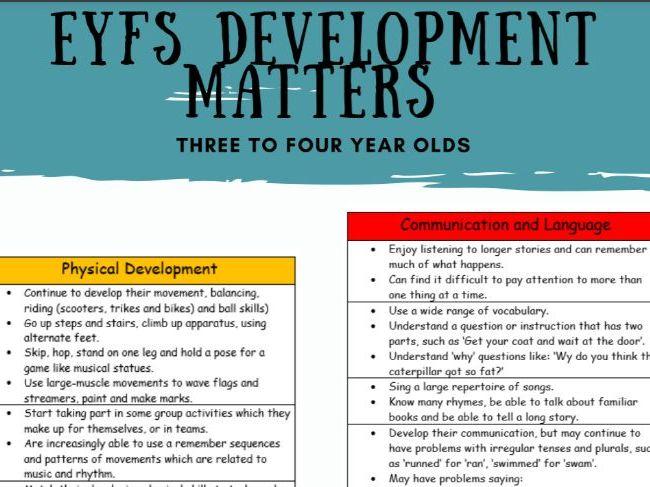 Development Matters  3-4 years (NEW 2021)