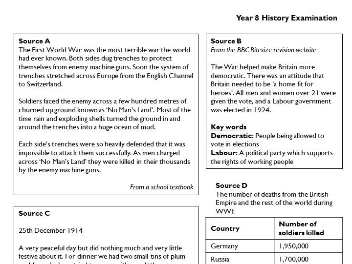 A life-after-levels Year 8 end-of-year-exam, based on AQA 1-9 GCSE requirements (First World War)