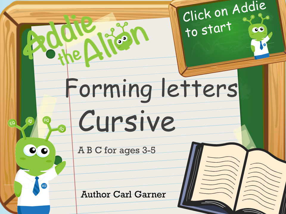Addie the Alien - Cursive Handwriting - Interactive Ppt and Worksheets