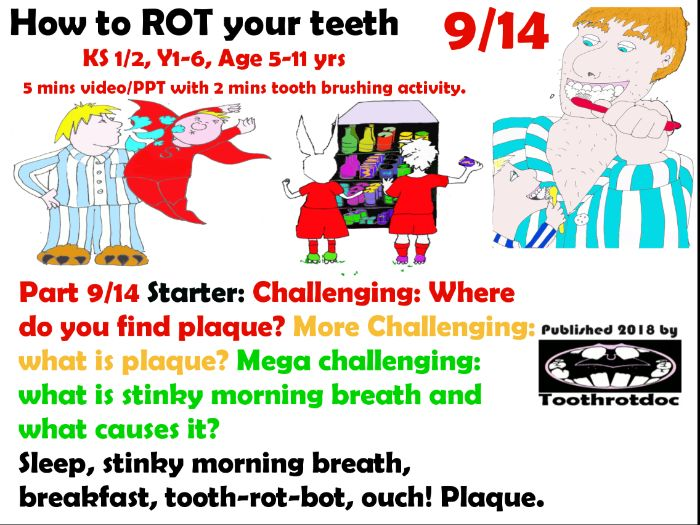 Teeth! 9/14 Sleep, stinky morning breath, breakfast, tooth-rot-bot, ouch! Plaque