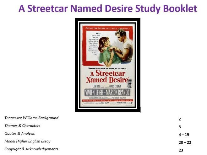 Higher English: A Streetcar Named Desire Study Booklet