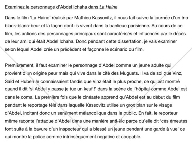 La Haine French A Level Essay FULL MARKS A* AQA