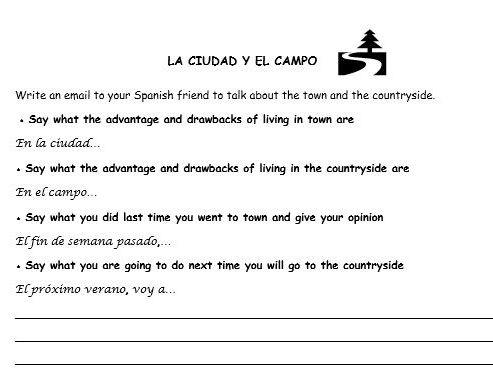 Spanish writing tasks 3 topics (holiday, town vs countryside, TV and cinema)