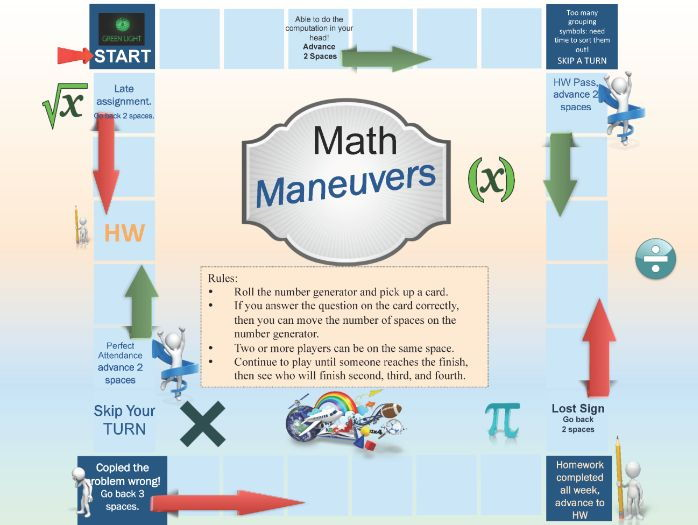 Math Maneuvers Game Board for the Secondary Classroom