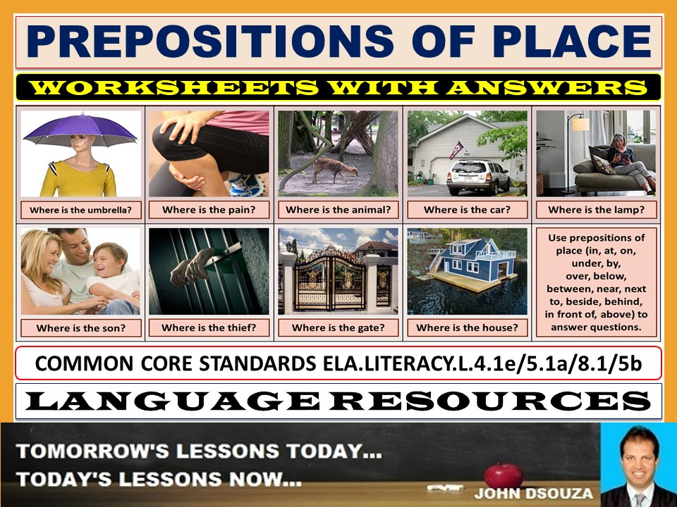 PREPOSITIONS OF PLACE WORKSHEETS WITH ANSWERS