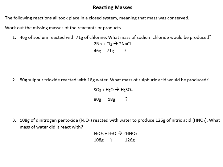 Conservation of Mass Questions