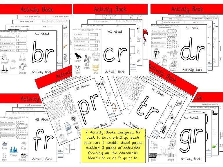 7 Activity Books for Consonant Blends - br cr dr fr gr pr tr