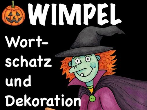 Deutsch Halloween pennants / Wimpel German - Vocabulary banners Germany / Deutschland