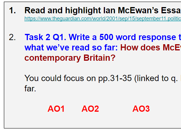 Saturday, Ian McEwan A-Level Literature KS5