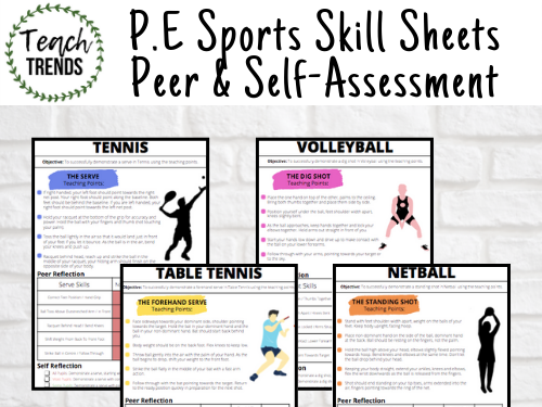 PE Sports Skills Sheets Peer & Self Assessment Worksheets