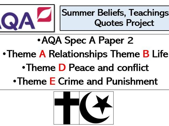 AQA A Paper 2 Religious Studies Themes Summer Project for KS4