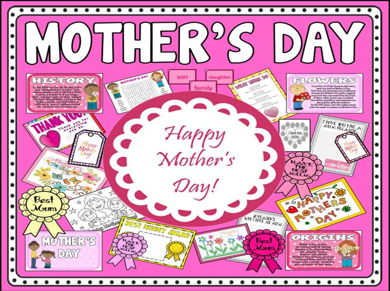 MOTHER'S DAY TEACHING RESOURCES EYFS KS1-2 CELEBRATIONS TRADITIONS MOM MUM